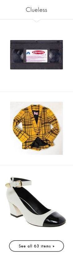 """""""Clueless"""" by bailarina-bruxa ❤ liked on Polyvore featuring fillers, electronics, stuff, 90s, movies, outerwear, jackets, yellow jacket, plaid jacket and yellow plaid jacket"""
