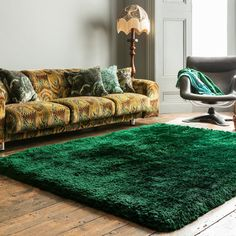 Plush Shaggy Rugs in Emerald buy online from the rug seller uk Rugs For Less, Dorm Room, Rug Size, Color Blocking, Plush, Contemporary, Living Room, Luxury, Stuff To Buy