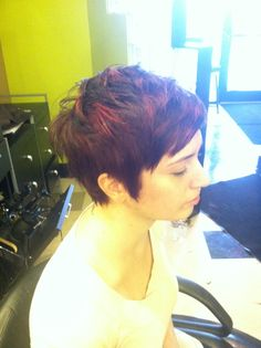 Red hair pixie cut pravana By Caitlin Kelly at Avantgarde Salon and Spa Grand Rapids Michigan