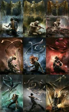 Cassandra Clare: the new Shadowhunter Chronicles covers~ Clockwork Angel (Will Herondale), Clockwork Prince (Jem Carstairs), Clockwork Princess (Tessa Gray), City of Bones (Jace Wayland), City of Ashes (Clary Fray), City of Glass (Simon Lewis), City of Fallen Angels (Isabelle Lightwood), City of Lost Souls (Alec Lightwood), City of Heavenly Fire (Sebastian Morgenstern)