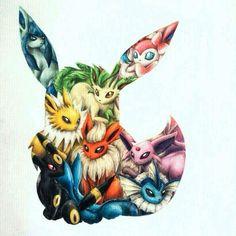 Anime Pokémon : Illustration Description Eevee evolutions by Pokemon Eeveelutions, O Pokemon, Eevee Evolutions, Pokemon Memes, Pokemon Fan Art, Pokemon Fusion, Arte Do Kawaii, Anime Kawaii, Evolution Tattoo