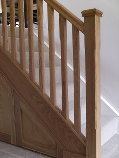 Oak stop chamfer stair renovation Cottage Stairs, Farmhouse Stairs, Rustic Stairs, Oak Stairs, Wooden Stairs, Farmhouse Interior, Basement Stairs, Farmhouse Style, Staircase Banister Ideas