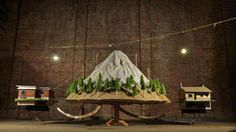 The Mountain by Graeme Patterson is made of wood, fabric, mixed materials and video and audio components. The exhibit is part of Patterson'...