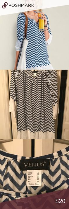 Cute Venus Blue and white chevron dress!!! Cute little Venus Blue and white chevron dress. Very comfortable and flowing. Only worn once!!! Smoke free home. VENUS Dresses Midi