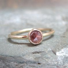 Rose Cut Diamond Solitaire and 10K Yellow Gold Ring by ASecondTime, $500.00