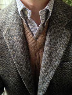 Dunn & Co. Harris Tweed, vintage Gant cotton flannel tattersall, Carl Sterr Peruvian Alpaca sweater vest.