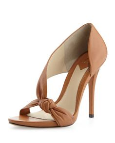 B Brian Atwood Chryssa Knotted Leather Sandal, Brown - Bergdorf Goodman Dream Shoes, Crazy Shoes, Me Too Shoes, Fashion Heels, Look Fashion, Fashion Dresses, Shoe Boots, Shoes Heels, Brian Atwood Shoes