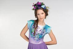 Violet birds  short sleeve skater dress by ZIBtextile on Etsy