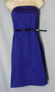 "* H&M size 12 blue strapless dress COTTON BLEND black slim belt ""Modern Classic"""