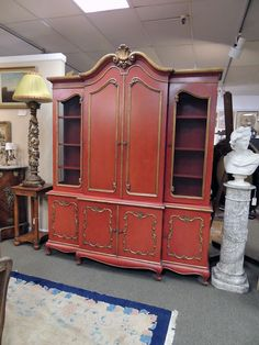 Lively Painted Italian Bookcase | Olde Mobile Antique Gallery