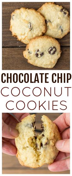 Chocolate Chip Coconut Cookies are loaded with sweet coconut shreds and chocolate chips. They are sure to satisfy your sweet tooth! | cookie recipe | dessert recipes | #dlbrecipes #chocolatechipcookies #coconutcookies #dessert #easyrecipe