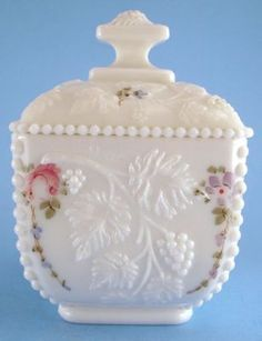 Westmoreland Milk Glass Beaded Edge Grape HP Square Candy Box Jar Roses | eBay