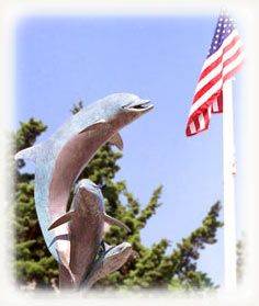 Dolphin Statue at the foot of Cayucos Pier, Cayucos, San Luis Obispo, California