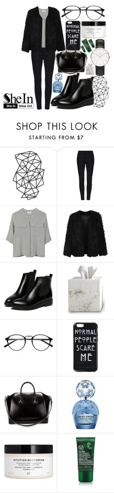 """""""SHEIN CONTEST"""" by dyingroses ❤ liked on Polyvore featuring PYRUS, LE3NO, WithChic, Waterworks, Givenchy, Marc Jacobs, H&M, The Body Shop, Daniel Wellington and women's clothing"""