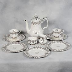 ROYAL ALBERT SILVER ANNIVERSARY 25 YEARS COFFEE/TEA SET in Pottery & Glass, Pottery & China, China & Dinnerware, Royal Albert | eBay