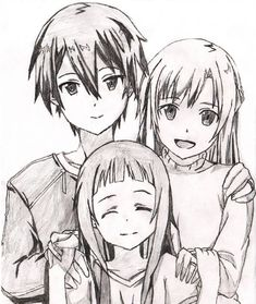 Sword Art Online - Kirito, Yui, and Asuna by seirolee on Dev. - Sword Art Online – Kirito, Yui, and Asuna by seirolee Sword Art Online Asuna, Sword Art Online Drawing, Kirito Asuna, Kunst Online, Online Art, Kirito Drawing, Cartoon Drawings, Drawing Sketches, Film Anime