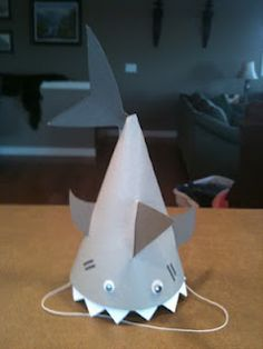 shark party hat tutorial....okay, maybe not your typical little girl party but my niece would love this!