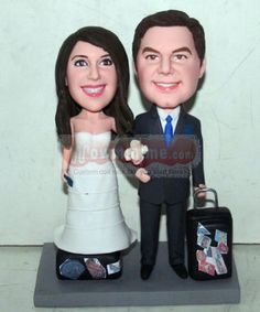 WowMiniMe.com 100% handmade custom wedding cake toppers look like you- Travel themed wedding cake toppers 10833