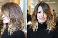 Layered Haircuts for Shoulder Length Hair Medium Short Hair, Medium Hair Cuts, Medium Hair Styles, Short Hair Styles, Collarbone Length Hair, Shoulder Length Hair, Hair Color Balayage, Ombre Hair, Ombre Bob