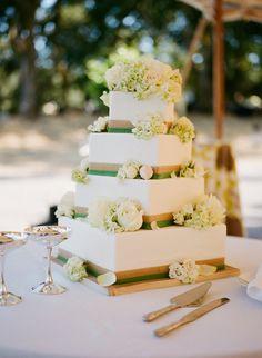 Square Wedding Cake | Meg Smith Photography https://www.theknot.com/marketplace/meg-smith-photography-napa-ca-321672 | Sweet On Cake https://www.theknot.com/marketplace/sweet-on-cake-napa-ca-588730