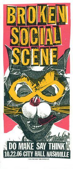 Image of Broken Social Scene: Cat Mask ( screen print / silk screen / cat / concert poster /indie poster / rock poster / graphic design)