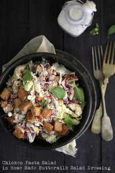 Chicken Pasta Salad in Home Made Buttermilk Salad Dressing