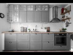 Kitchen Units, Ikea Kitchen, Kitchen Interior, Kitchen Decor, Bodbyn Kitchen Grey, Kitchen Bar Design, Latest Kitchen Designs, Modern Farmhouse Living Room Decor, Country Kitchen
