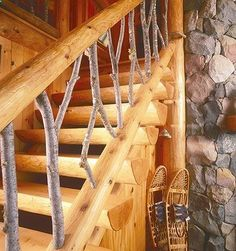 half-log stairs with custom railing.