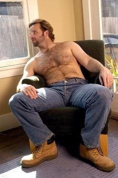 want to sit on his lap, hairy chest, work pants, beard, bulge