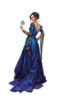Female Human Aristocrat Sorcerer - Pathfinder PFRPG DND D&D d20 fantasy