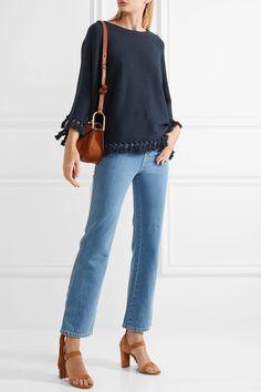 Chloé | Tassel-trimmed cotton and wool-blend sweater | NET-A-PORTER.COM