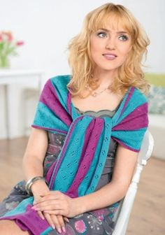 Colourful lace wrap - free knitting pattern to download over the Let's Knit website!