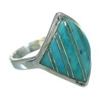 Authentic Sterling Silver Turquoise Southwestern Ring Size 8 RX86353