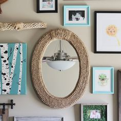 Update a thrifted mirror into something nautical using some rope and a glue gun.