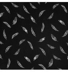 Tissu molleton noir imprimé plumes