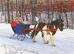 winter horse-drawn sleigh ~ Painted Pony by Thelma Winter