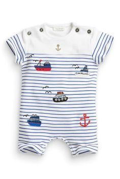 Buy Stripe Ship Appliqué Romper (0-18mths) from the Next UK online shop