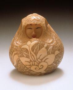 Japan  Female Daruma Doll, 18th century, 20th-century additions  Netsuke, Ivory with sumi, red pigment,