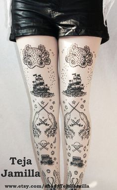 Pirate Narwhal Tattoo Tights Large Black and White Tights Printed Women Octopus Squid Nautical Sea Sailor. $25.65, via Etsy.