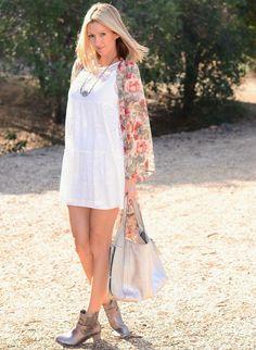 Lace Babydoll Dress, Floral Kimono & Pewter Boots