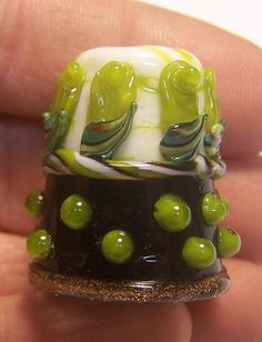 Handmade Lampwork Glass Thimble Green Rose by ColleensCreations, $18.00