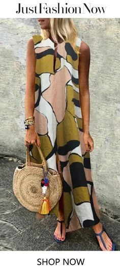 Plus Size Women Casual Art Print V-neck Sleeveless Holiday Maxi Dress - Banggood Mobile Casual Art, Style Casual, Beach Casual, Shift Dresses, Maxi Dresses, Sun Dresses, Work Dresses, Vestidos Vintage, Vintage Dresses