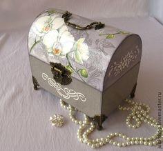 """Сундучок """"Королевские орхидеи"""" (продано) - серый,сундучок,сундучок для денег"""