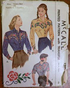 Vtg 1940's 1946 McCall 1295 Western Shirt Sewing Transfer Pattern 16 34   eBay
