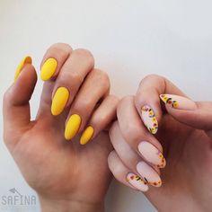 The Best Nail Art Designs – Your Beautiful Nails Cute Acrylic Nails, Cute Nails, Pretty Nails, Spring Nails, Summer Nails, Hair And Nails, My Nails, Yellow Nail Art, Floral Nail Art