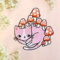 Mushroom Kitty Patch van ponyponypeoplepeople op Etsy