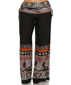 Look what I found on #zulily! Black & Red Geo Side-Tie Palazzo Pants - Plus #zulilyfinds