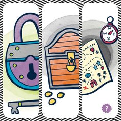 Treasure chest illustration for pirate theme card in story dealer pirate treasure map lock key in story dealer card game stemsteam publicscrutiny Image collections