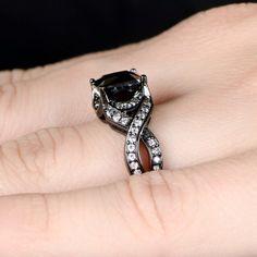 Millicent's Princess Cut Black CZ Engagement Ring