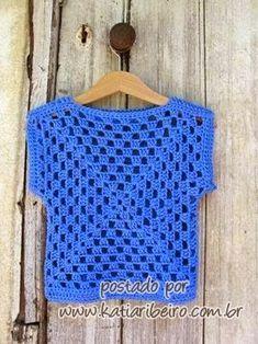 Transcendent Crochet a Solid Granny Square Ideas. Inconceivable Crochet a Solid Granny Square Ideas. Débardeurs Au Crochet, Pull Crochet, Gilet Crochet, Mode Crochet, Crochet Woman, Crochet Blouse, Crochet Granny, Crochet For Kids, Crochet Crafts